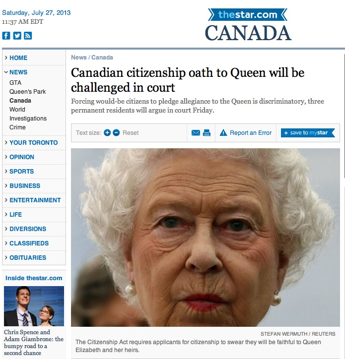 Canadian Queen oath