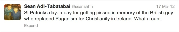 """Another nice little tweet from the """"enlightened"""" Sean Tabatabai"""