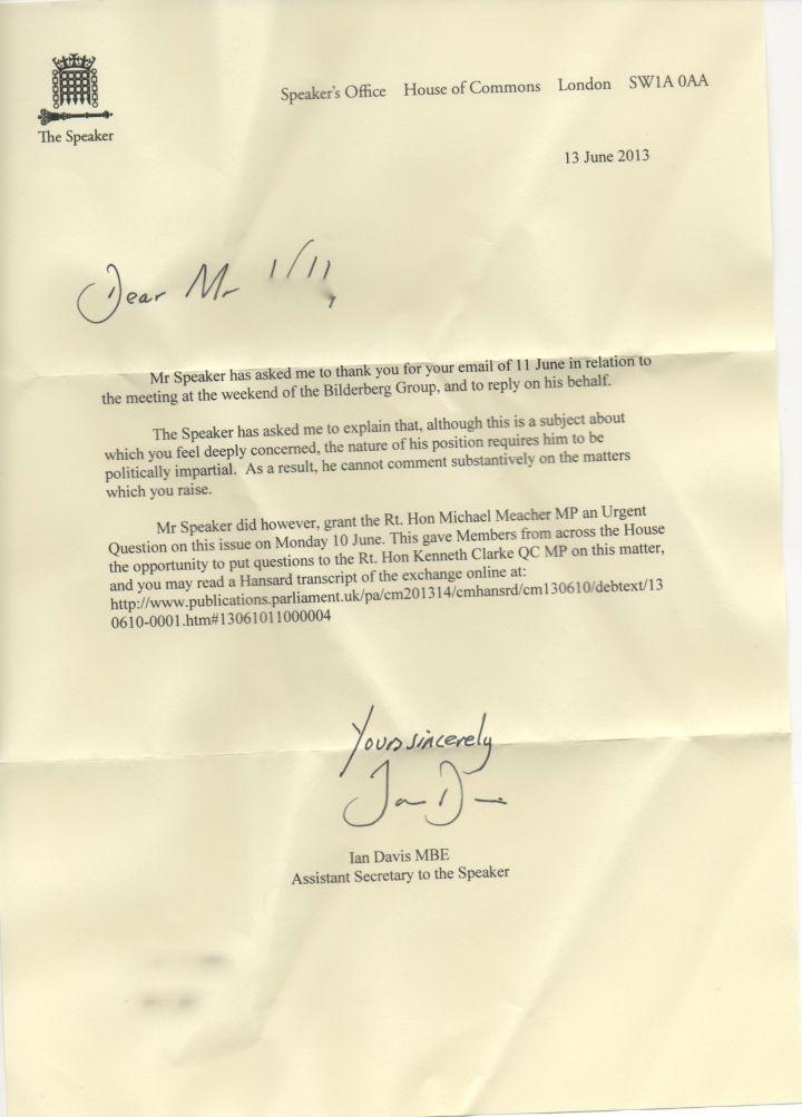 Bercow letter 2