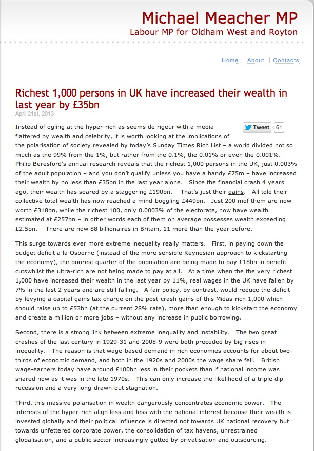 Meacher billionaires in the UK