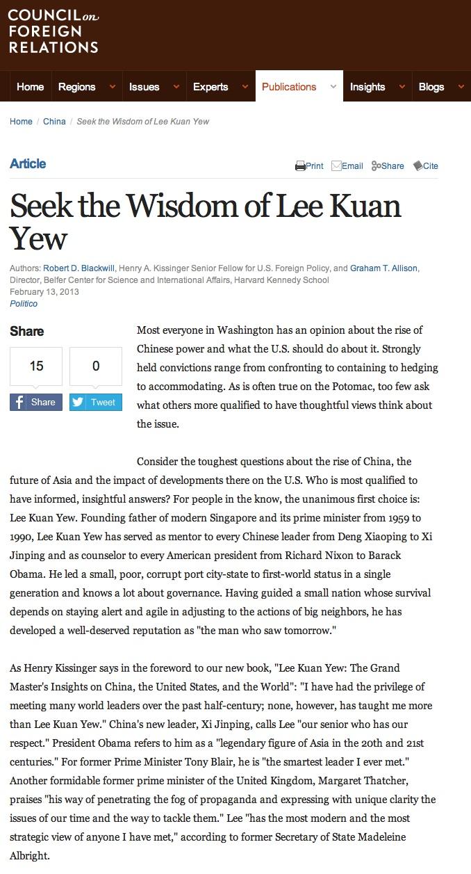 CFR Lee Kuan Yew