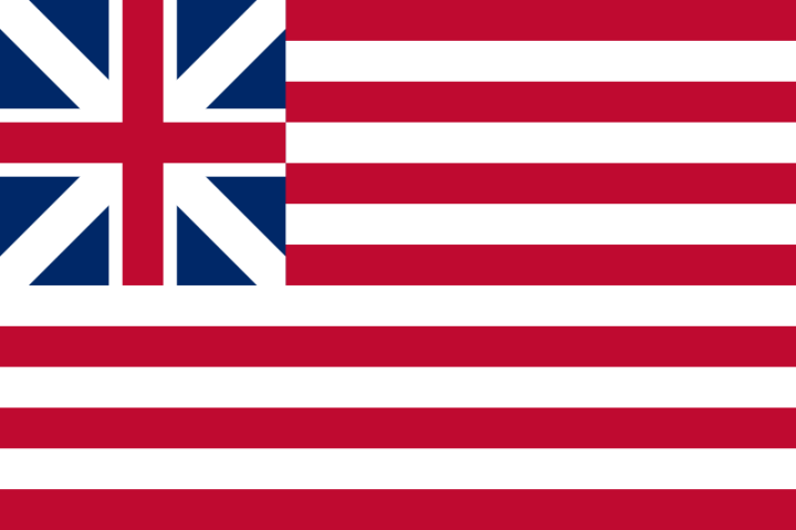 The Grand Union flag of the American Revolution and the United States as of July 4th, 1776.