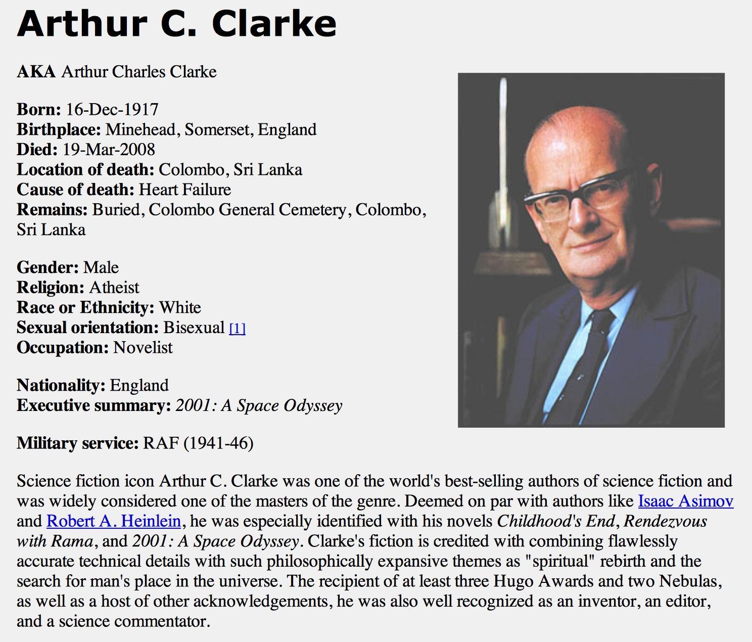 Arthur C Clarke bisexual