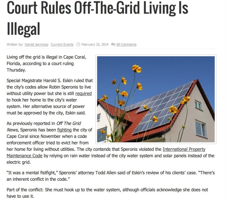 Off grid is illegal