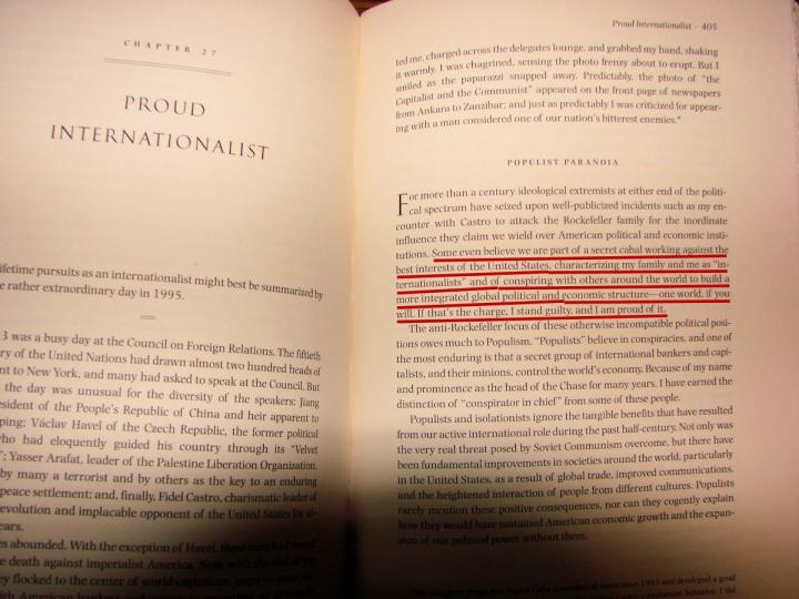 David Rockefeller Pround Internationalist