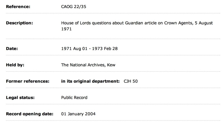 HOL questions Guardian Crown Agents