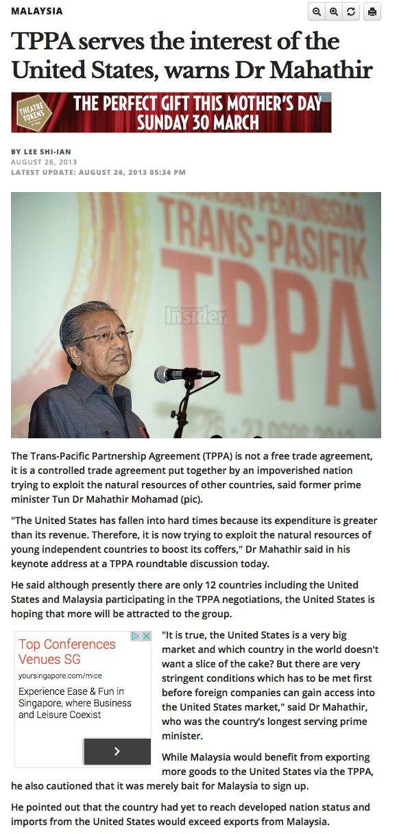 Mahathir TPP