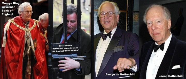 Mervyn King. Oliver Letwin. Evelyn de Rothschild. Jacob Rothschild.