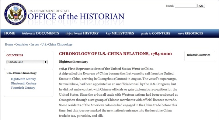 Office of the historian US china