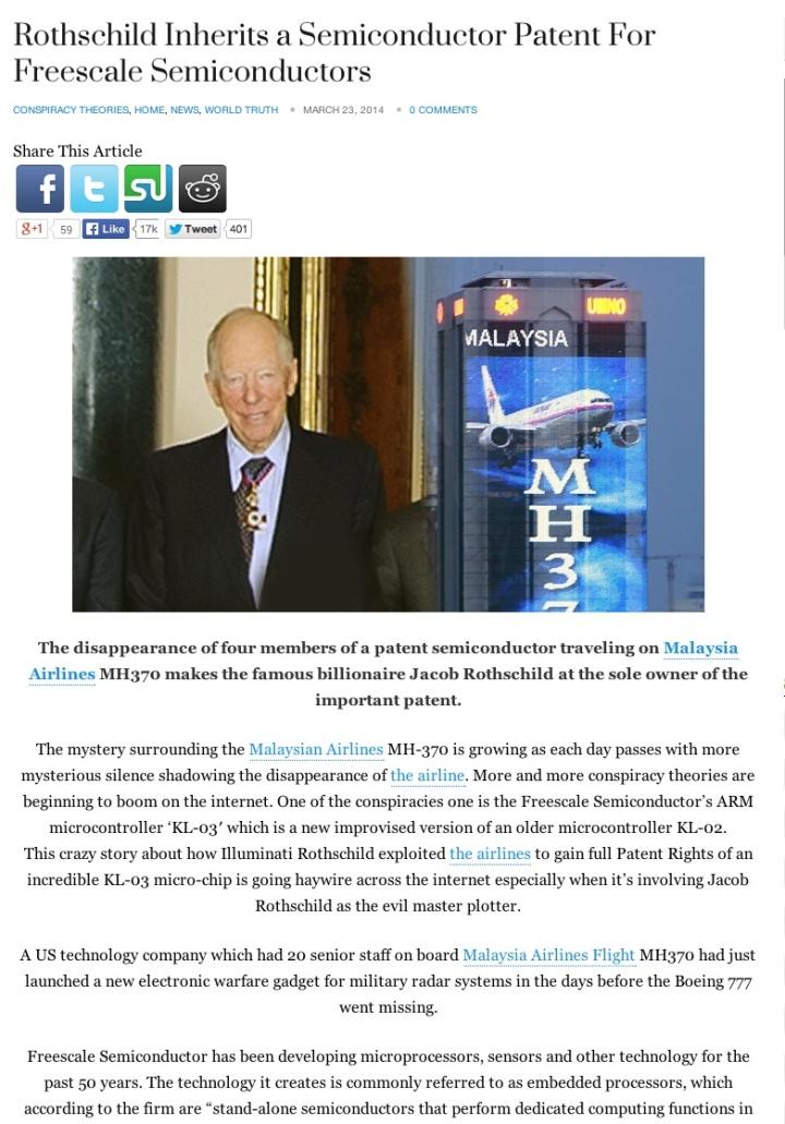 Rothschild story MH370 patent