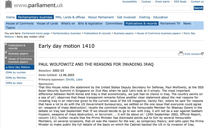 Paul Wolfowitz UK Parliament EDM