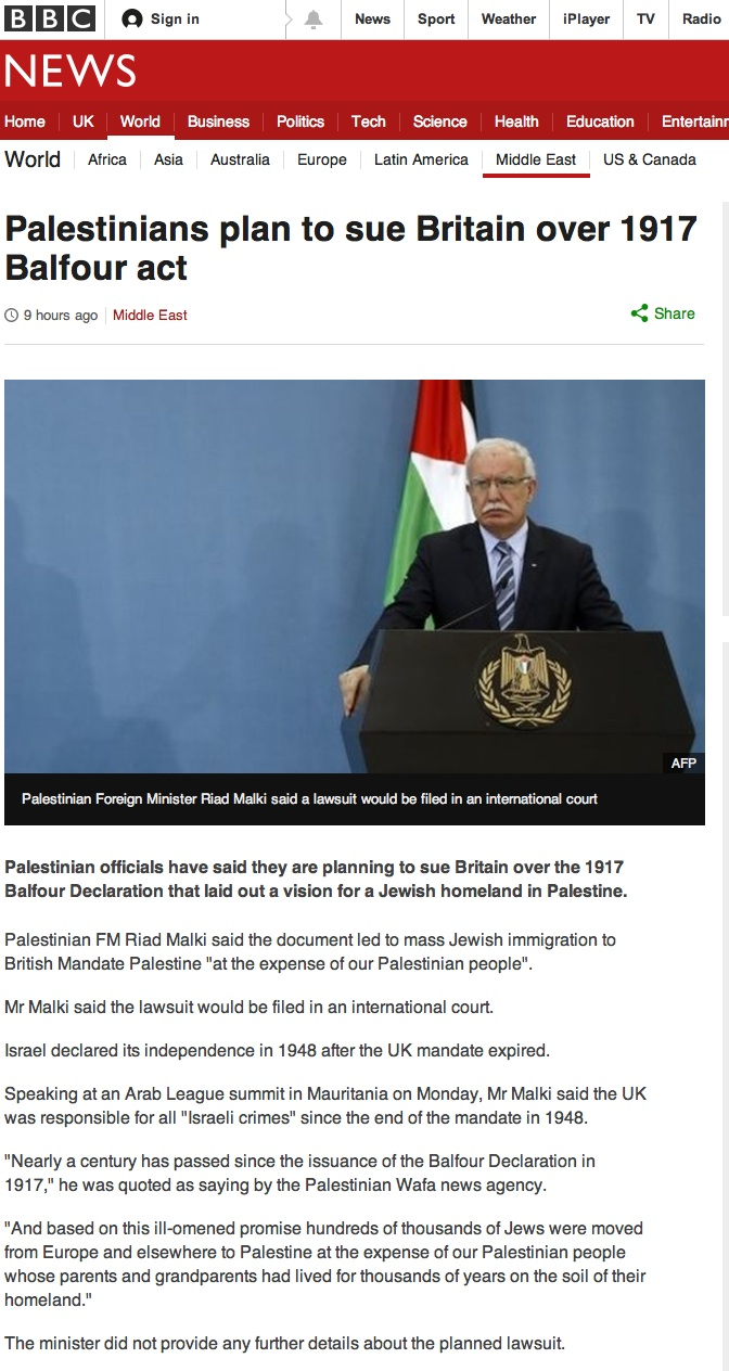 Palestine to sue Britain BBC